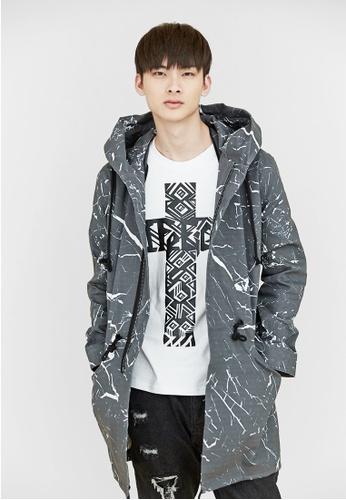 Life8 black Life8 x Daniel Wong。Marbled Parka Trench Coat-03665-Black LI286AA51BEYMY_1