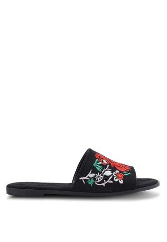 ZALORA black Floral Embroidered Sandals 9BAABSH7790747GS_1