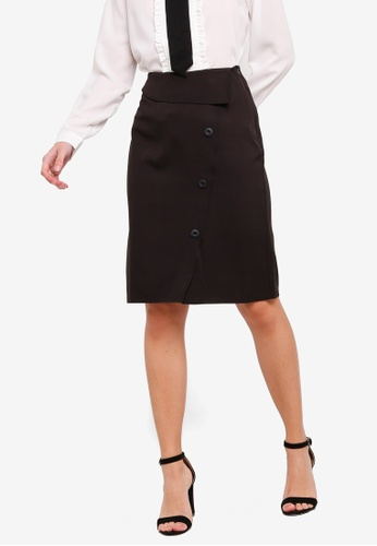 ZALORA 黑色 High Waisted Skirt With Front Flap 8C8FEAAC3E8E64GS_1