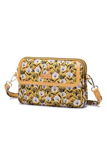 ULA ULA yellow ULA ULA Hannah Donna Double Gusset Slim Cross Body Leather Trim Handbag (RFID pocket inside) F528BAC82CB5C5GS_1