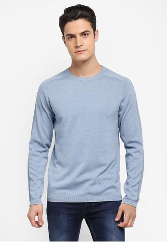 Selected Homme 藍色 長袖圓領針織衫 BA079AA84AEC83GS_1