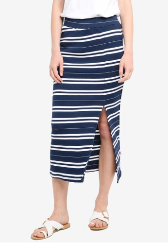 Zariya blue Stripe Printed Midi Skirt 807A7AA9402265GS_1