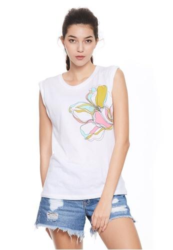 Sisley white Printed Sleeveless T-shirt 51CF9AA85B77D2GS_1