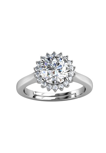 Her Jewellery silver CELÈSTA Moissanite Diamond - Florale Ring (925 Silver with 18K White Gold Plating) by Her Jewellery D99F5ACE2C8A1FGS_1