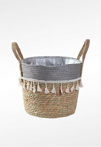 Ayra Home & Living grey Grey Woven Basket Planter with Tassle E0881HLCB0DA4EGS_1