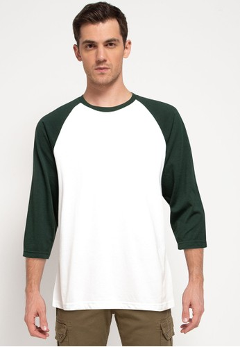Tolliver white and green Contrast 3/4 Raglan T-Shirt 05326AADC12B9BGS_1