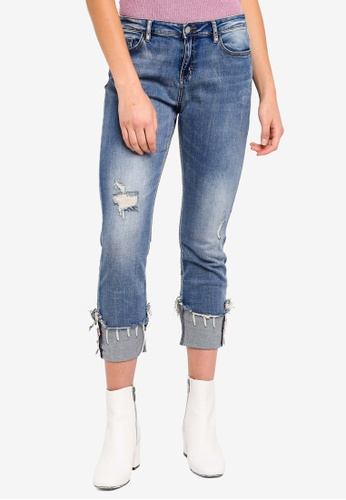 ESPRIT blue Distressed Denim Jeans 16618AA27EE953GS_1