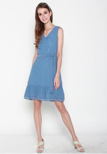 JOVET blue Sleeveless Dotty Flute Hem Dress B4154AA9D84865GS_1