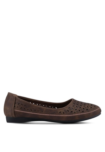 Louis Cuppers brown Perforated Ballerina Flats D1205SH0D77DF0GS_1