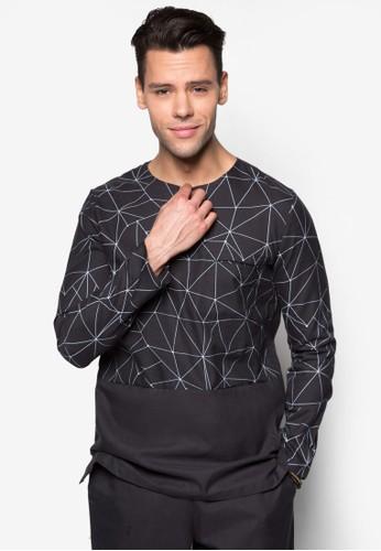 幾何印花拉鍊長袖上衣, 服飾, 男性服esprit專櫃飾