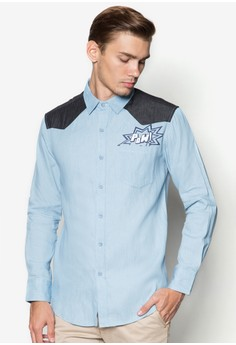 Denim Long Sleeve Shirt With Contrasting Yoke