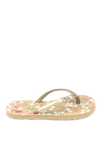 Ripples multi and beige Hummingbirds and Daisies Flip Flops RI425SH0FP47SG_1