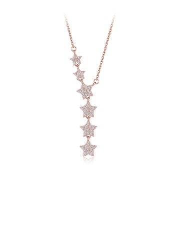 Glamorousky white 925 Sterling Silver Plated Rose Gold Sparkling Star Necklace with Cubic Zircon BFA7FAC51E8451GS_1