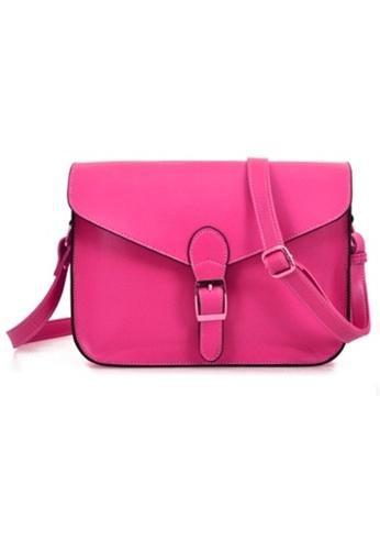 Jackbox Korean Casual PU Leather Shoulder Sling Bag 311 (Sharp Pink) JA762AC81MSOMY_1