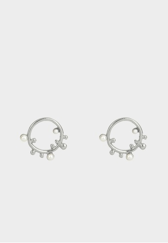 Pomelo silver Abstract Jagged Pearl Stud Earrings - Silver 54F3AACCB3B13CGS_1