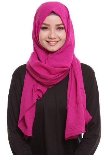 Mybamus Pashmina Texture Plain Anti Licin Pink