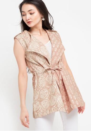 Le Viel Batik multi and brown Taylor Cardigan E052DAA6382FCDGS_1