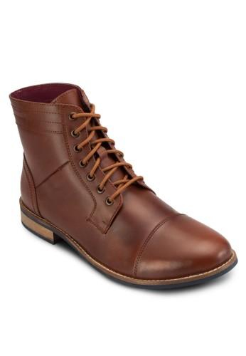 繫帶皮革esprit 京站短靴, 鞋, 鞋