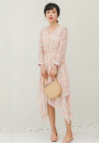 Shopsfashion orange Floral Printed Midi Dress with Uneven Hem F965DAA720EED5GS_1