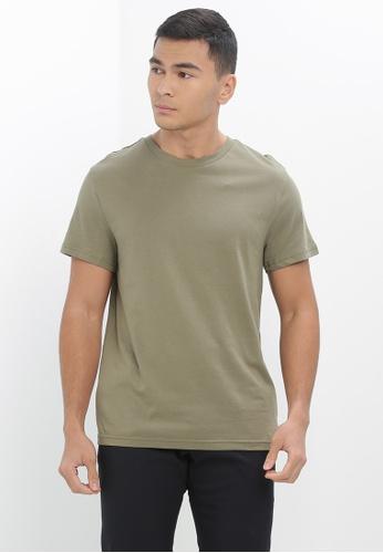 H&M green Round-Neck T-Shirt Regular Fit 7B630AAFAD4641GS_1