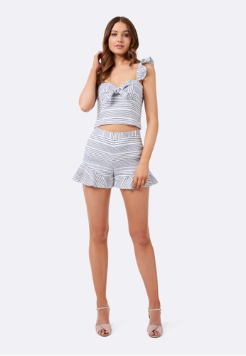 Forever New grey and  Trinity Stripe Co-Ord Linen Shorts  FO169AA0GASCSG_1