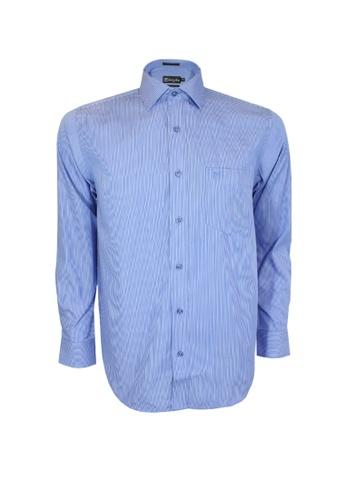 Valentino Rudy blue Valentino Rudy Italy Men's Long Sleeve Semi Fit Blue Shirt (04801-002-33) B2FFDAAC970D44GS_1