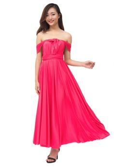 b76e9f048343 COVETZ Wedding pink Kaelyn Convertible Maxi Dress - Bright Pink  CO611AA56DDFMY 1