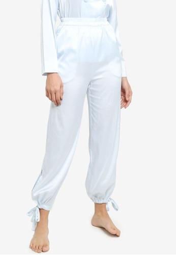 ZALORA BASICS blue Lounge Tie Cuff Satin Pants B50EEAA94ADD1DGS_1
