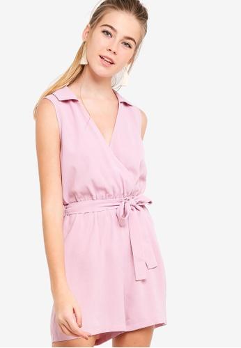 Something Borrowed pink Sleeveless Self Tie Playsuit 6A5CEAAB47F5AFGS_1
