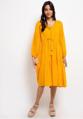 SUNDAYS yellow Billow long sleve midi dress 891A0AA01683B4GS_1