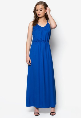 zalora 台灣門市V 領束腰長洋裝, 服飾, 洋裝