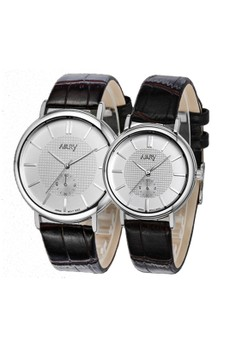 NARY Couple Casual Leather Quartz Watch - 9002