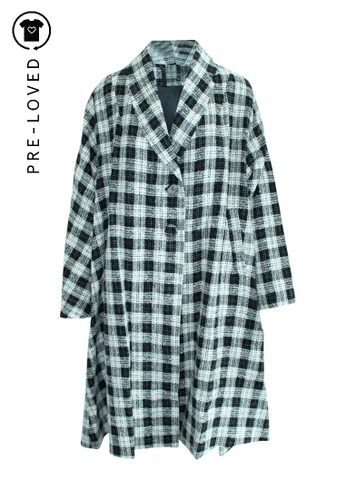 Reformation black Pre-Loved reformation Black and White Checked Trench Coat 0B84BAAB266612GS_1