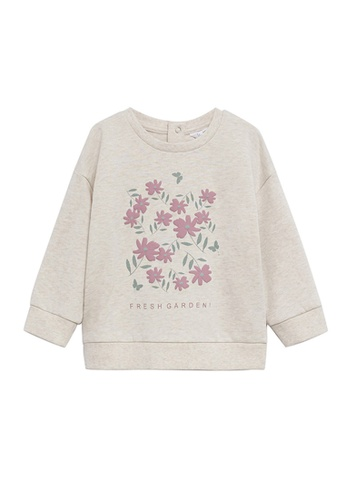 MANGO BABY beige Printed Organic Cotton Sweatshirt 0E714KA4A45E86GS_1
