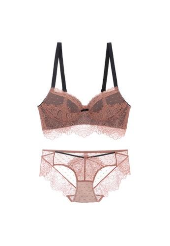 Midnight 橘色 Premium Lace Orange Lingerie Set (Bra and Underwear) 30840US0C0353CGS_1