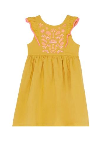 Du Pareil Au Même (DPAM) yellow Embroidery Dress F02DBKAA2FBE03GS_1