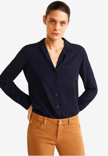 Mango blue and navy Pocket Flowy Shirt 0DCD7AA86BA519GS_1