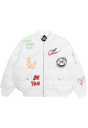 Mini cream white Graphic quilted down jacket 088E6AAEAEDCF7GS_1