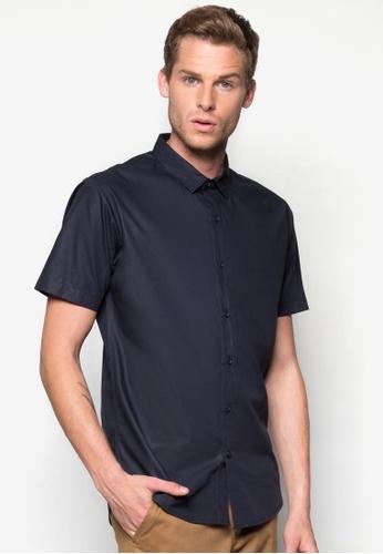 ZALORA navy Basic Short Sleeve Poplin Shirt ZA919AA60WTZSG_1
