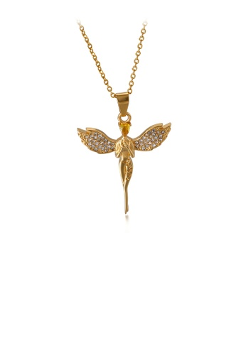 Glamorousky white Fashion and Elegant Plated Gold Angel 316L Stainless Steel Pendant with Cubic Zirconia and Necklace 602FFAC5746560GS_1