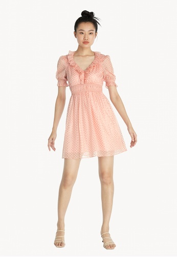 Pomelo pink Reflective Polka Dot Ruched Dress - Pink C286EAA9F4D412GS_1