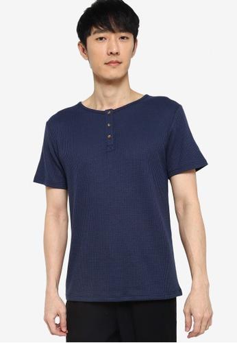 ZALORA BASICS navy Waffle Knit Half Button T-Shirt AF927AA025A2DDGS_1