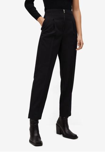 Mango black Pleat Zip Trousers F9090AA7CDE3AAGS_1