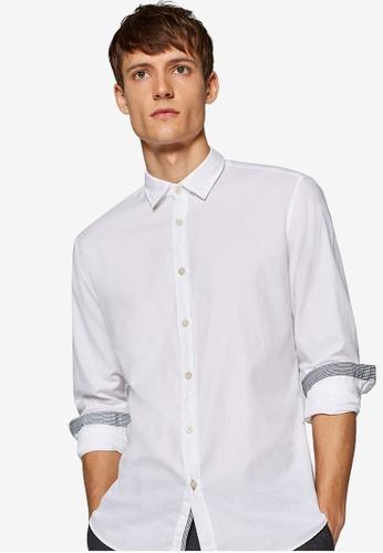 ESPRIT 白色 Woven Long Sleeve Shirt 48C57AA792B1E5GS_1