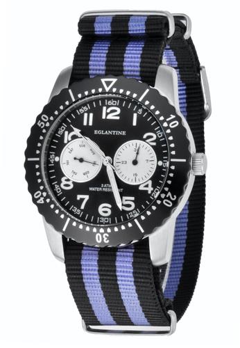 EGLANTINE silver EGLANTINE® Terrenz Unisex Steel Quartz WatchBlack Dial on Black/Blue NATO Strap FC038AC9399A62GS_1