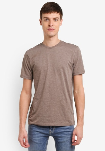 Topman brown Brown Marl Jersey T-Shirt TO413AA0SHQBMY_1