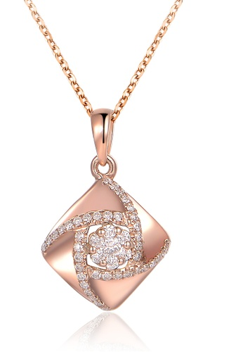 Prince Jewellery And Watch red and gold 18K Rose Gold Diamond Rhombus Pendent 32187AC672E077GS_1