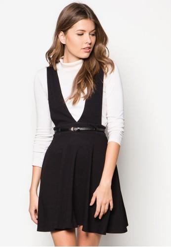 深V 腰帶傘狀連身裙, 服zalora時尚購物網的koumi koumi飾, 服飾
