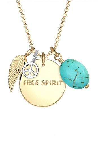 ELLI GERMANY Elli Germany 925 Sterling Silver Gold-Plated Kalung Free Spirit Howlite Feather Peace Toska