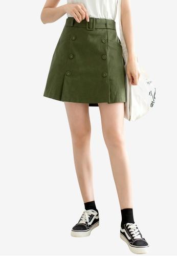 Tokichoi green Belted Button Detailed Skirt 04BA8AA3D549C3GS_1